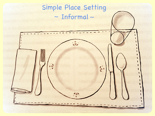 Post on post informal place setting frills trills for Simple table setting
